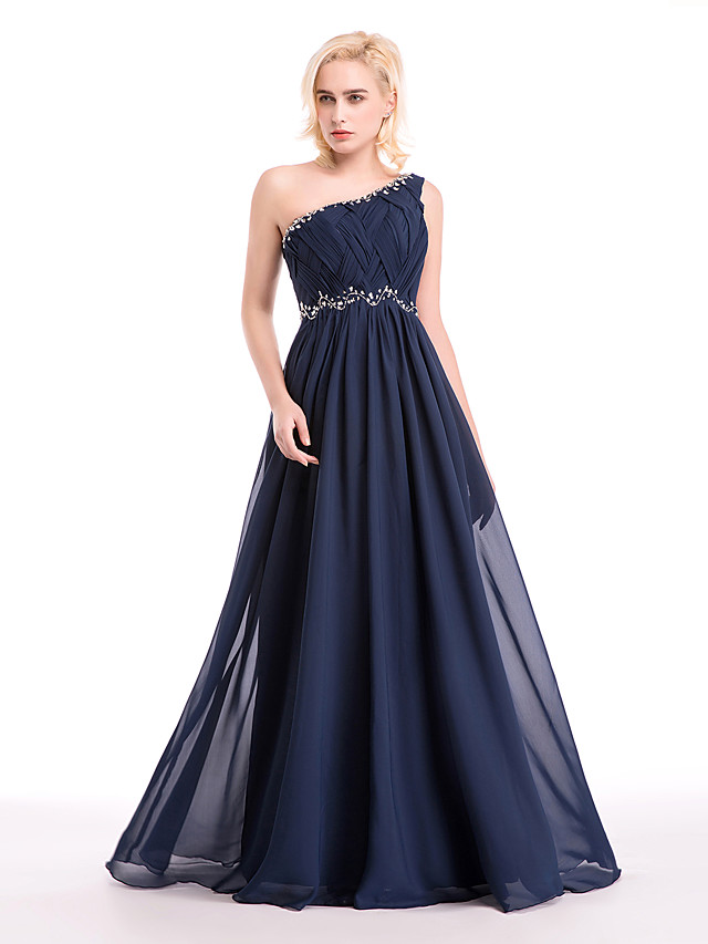 Ball Gown Cocktail Party Formal Evening Dress One Shoulder Floor Length Chiffon with Crystals Beading Draping 2020