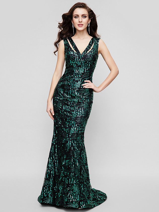Mermaid / Trumpet Sheath / Column Elegant Celebrity Style Sparkle & Shine Formal Evening Military Ball Dress V Neck Sleeveless Sweep / Brush Train Sequined with Sequin 2020