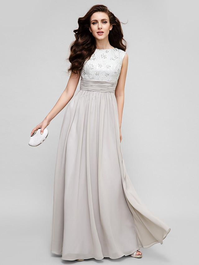 Sheath / Column Elegant Prom Formal Evening Dress Jewel Neck Sleeveless Floor Length Chiffon Beaded Lace with Ruched Beading 2020