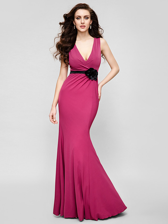 Mermaid / Trumpet V Neck Floor Length Jersey Dress with Flower by TS Couture®