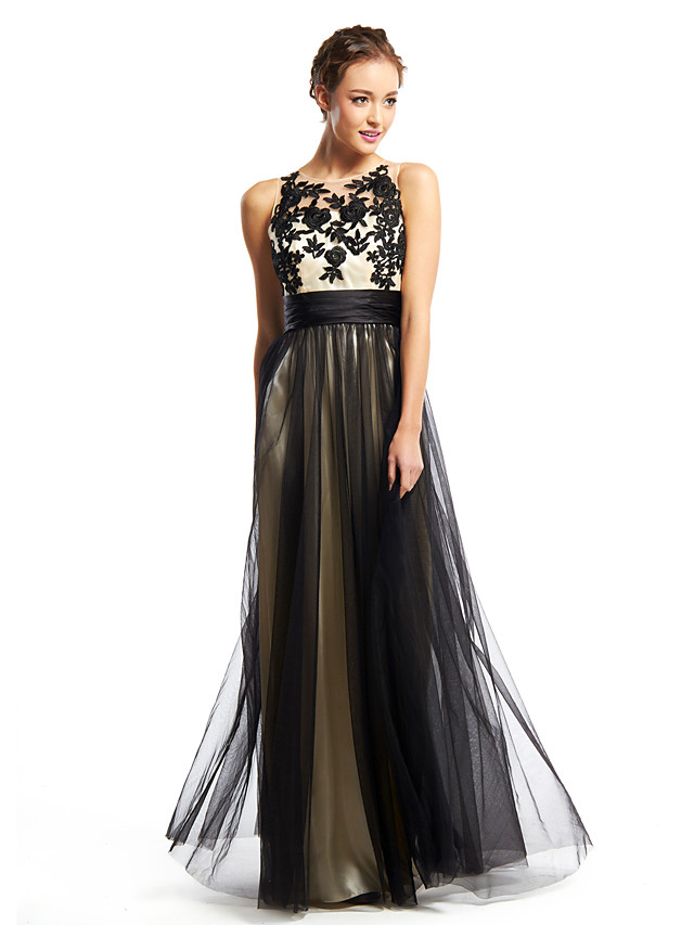 A-Line Color Block Prom Formal Evening Dress Scoop Neck Sleeveless Floor Length Tulle with Appliques 2020