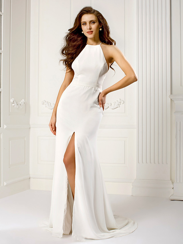 Sheath / Column Halter Neck Sweep / Brush Train Chiffon Dress with Split Front by TS Couture®