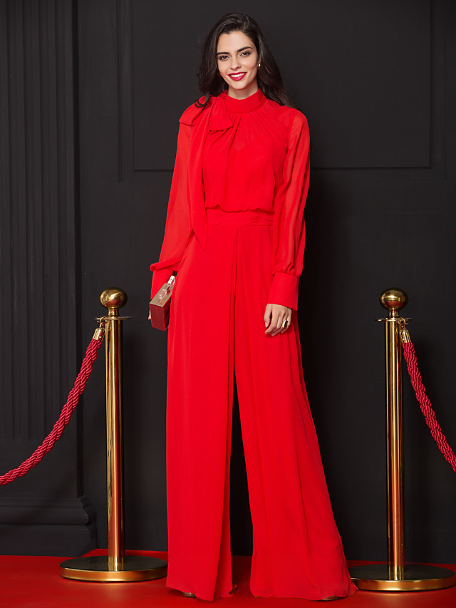 Jumpsuits Sheath / Column Celebrity Style Prom Formal Evening Dress High Neck Long Sleeve Floor Length Chiffon with Bow(s) Pleats Draping 2020