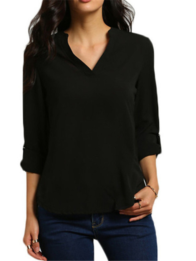 Women's Plus Size T-shirt Solid Colored Cut Out Tops V Neck Wine White Black / Work