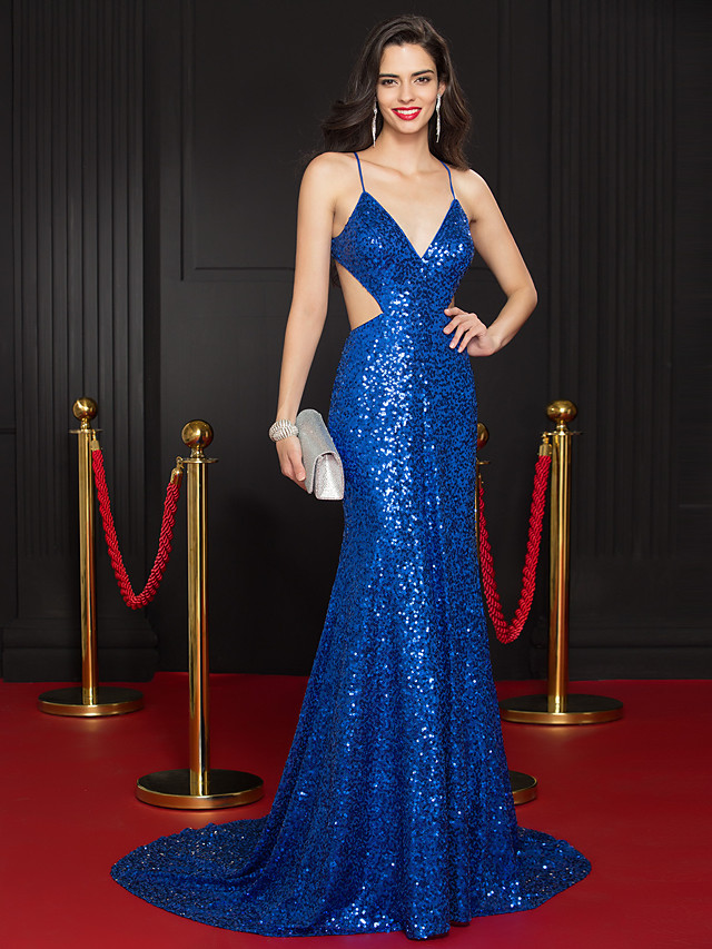 Mermaid / Trumpet Celebrity Style Beaded & Sequin Formal Evening Dress Plunging Neck Sleeveless Court Train Sequined with Sequin 2020