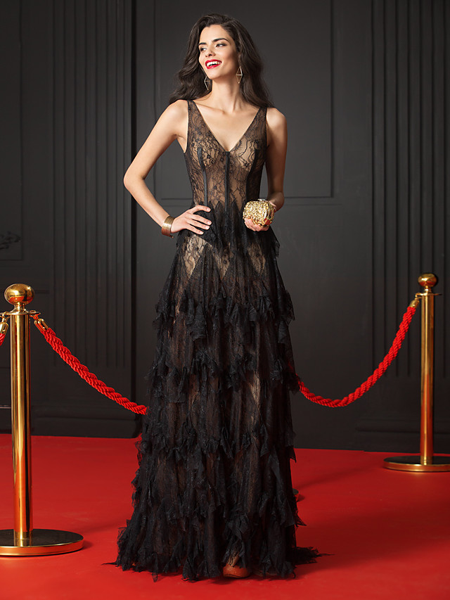 A-Line Elegant Formal Evening Black Tie Gala Dress V Neck Sleeveless Court Train Sheer Lace with Cascading Ruffles 2020