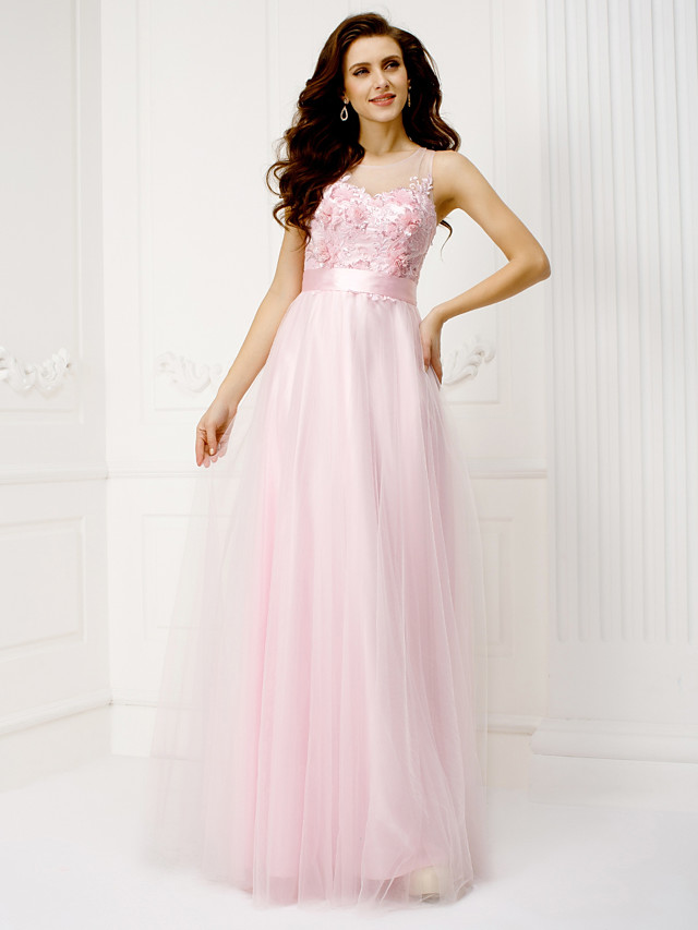 A-Line Pastel Colors Formal Evening Dress Illusion Neck Sleeveless Floor Length Tulle with Lace Sash / Ribbon Sequin 2020
