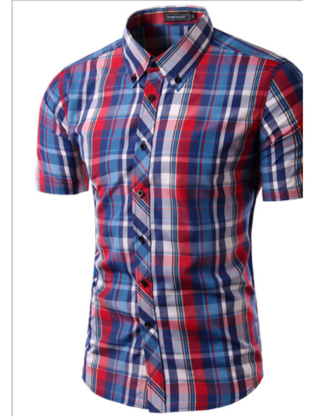 Men's Plaid Print Slim Shirt Daily Weekend Button Down Collar Wine / White / Black / Red / Navy Blue / Fuchsia / Orange / Khaki / Summer / Short Sleeve