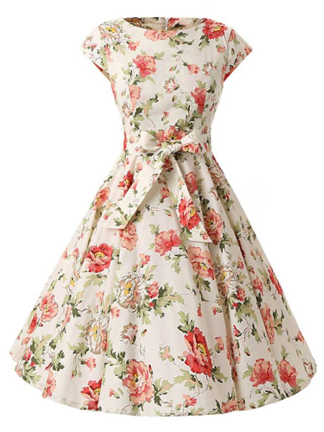 女性用 ヴィンテージ コットン Aライン ドレス - リボン, 水玉 / 波点 膝丈 ボートネック