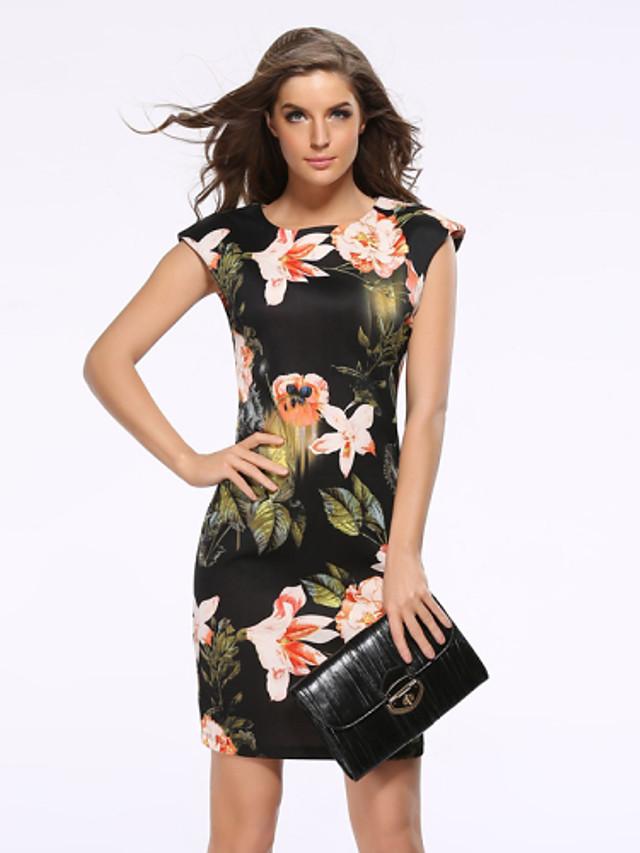 Women's Floral Plus Size Black Dress Street chic Daily Sheath Floral Black Print S M Slim