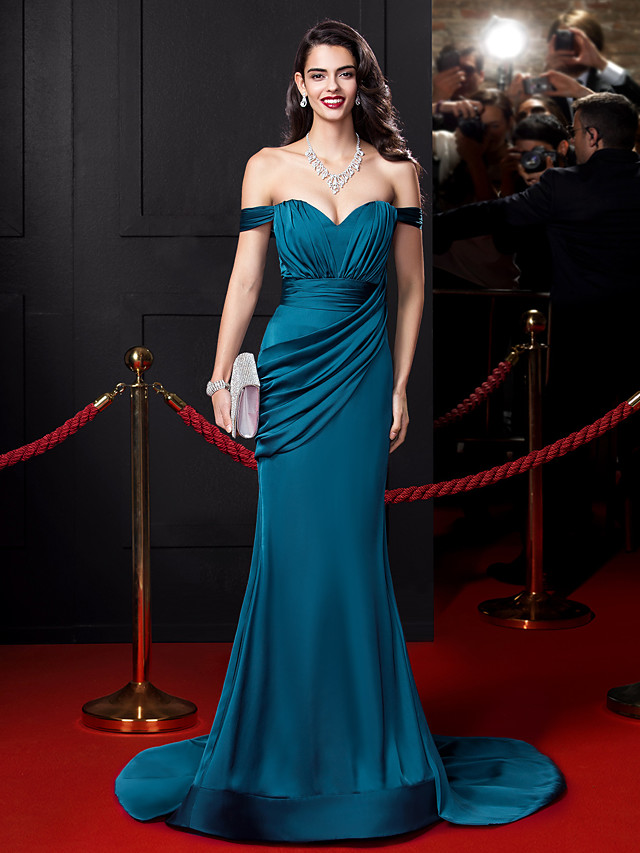 Mermaid / Trumpet Sexy Blue Engagement Formal Evening Dress Off Shoulder Sleeveless Court Train Satin Chiffon with Ruched Draping 2020