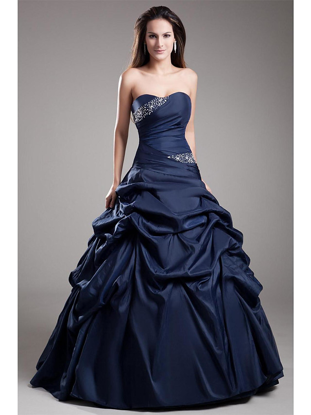 Ball Gown Elegant Quinceanera Prom Dress Strapless Sleeveless Floor Length Taffeta with Crystals Tier 2021