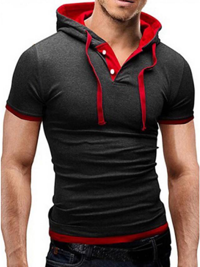 Voor heren T-shirt Korte mouw Dagelijks Skinny Tops Basic Capuchon Blauw Zwart Zwart / Rood Zwart / Wit / Zomer