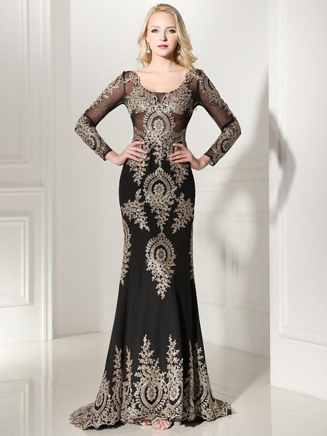 Sheath / Column Elegant Formal Evening Black Tie Gala Dress Scoop Neck Long Sleeve Sweep / Brush Train Jersey with Appliques 2020 / Illusion Sleeve