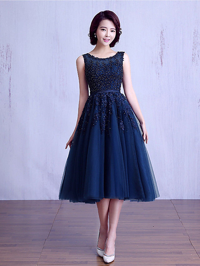 Ball Gown Jewel Neck Tea Length Lace Over Tulle Bridesmaid Dress with Beading / Lace / Sash / Ribbon