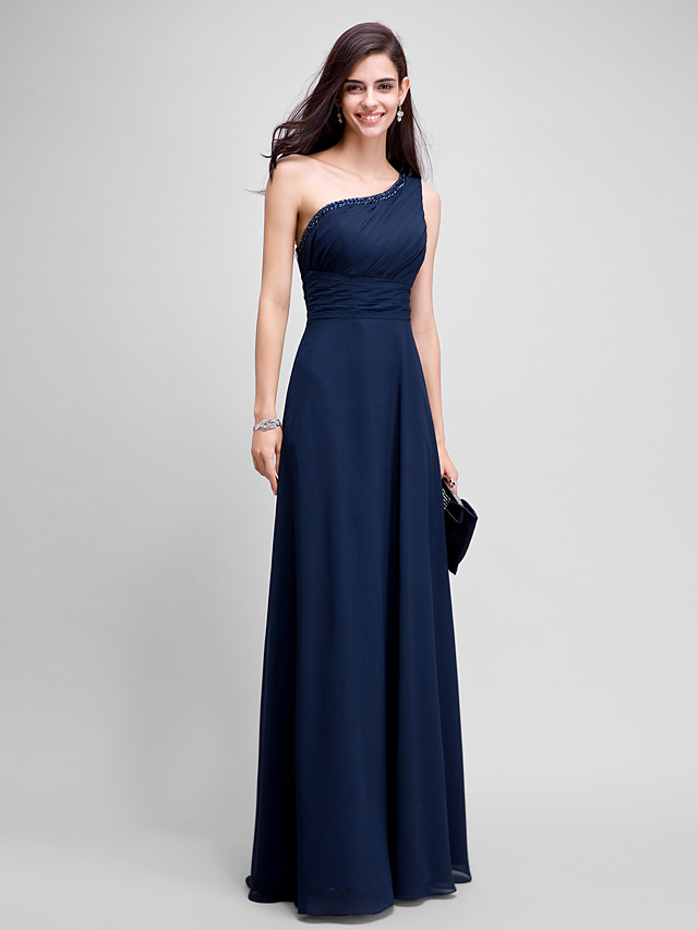 Sheath / Column Empire Wedding Guest Formal Evening Dress One Shoulder Sleeveless Floor Length Chiffon with Ruched Beading 2020