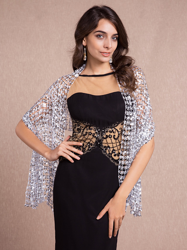 Sleeveless Shawls / 1920s / Flapper Girl Cotton Party Evening Wedding  Wraps / Shawls With Sequin