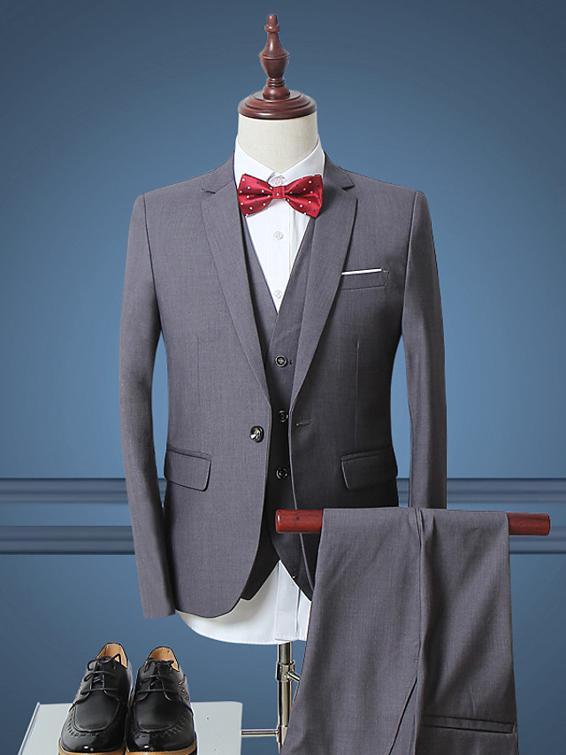 Men's Work Simple Spring / Fall Regular Suits, Solid Colored Long Sleeve Polyester Dark Blue / Gray / Wine
