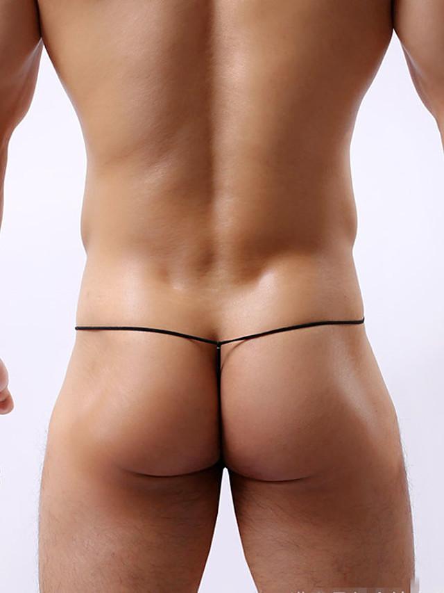 Men's G-string Underwear Color Block Low Waist Black White Yellow M L XL
