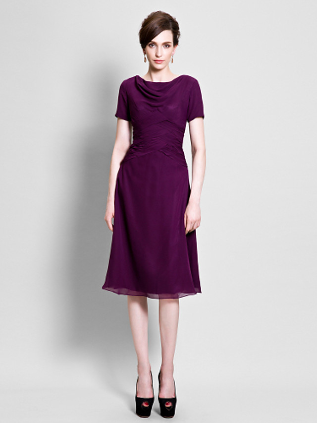 A-Line Mother of the Bride Dress Cowl Neck Tea Length Chiffon Short Sleeve with Ruched Side Draping 2020