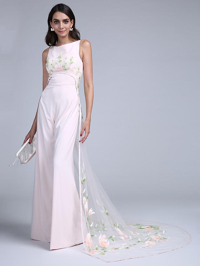 Jumpsuits Sheath / Column Elegant Formal Evening Dress Jewel Neck Sleeveless Court Train Chiffon Tulle with Pattern / Print 2020