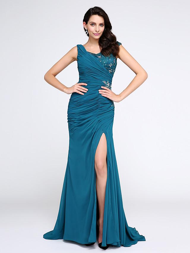 Mermaid / Trumpet Elegant Sparkle & Shine Furcal Formal Evening Black Tie Gala Dress V Neck Sleeveless Sweep / Brush Train Chiffon with Crystals Side Draping 2020