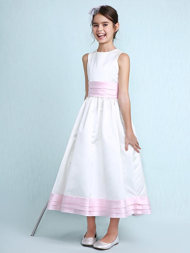 A-Line / Princess Jewel Neck Knee Length Satin Junior Bridesmaid Dress with Sash / Ribbon / Ruffles / Ruched / Spring / Summer / Fall / Winter / Wedding Party