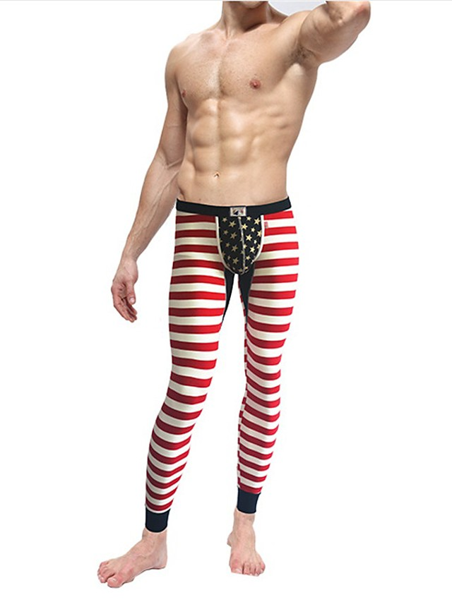 Men's Cotton Sexy Long Johns Striped