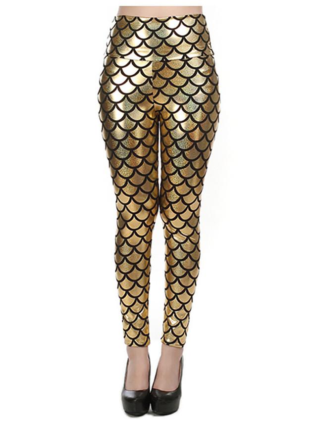 Women's Club Metallic Legging - Check, Print Mid Waist Fuchsia Gold Royal Blue One-Size / Skinny
