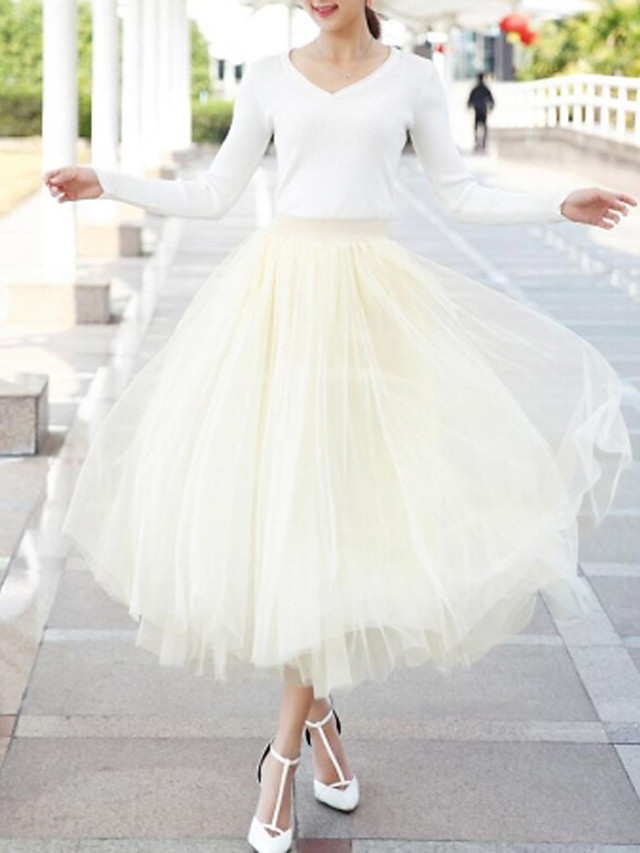 Women's Tutus Maxi Swing Skirts - Solid Colored Tulle Wine Light gray Black One-Size