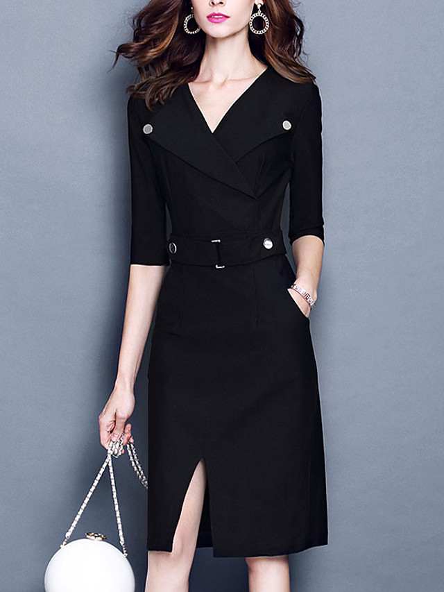 Women's Casual Sheath DressSolid / Striped V Neck Above Knee  Length Sleeve Black Cotton / Rayon Fall Mid Rise