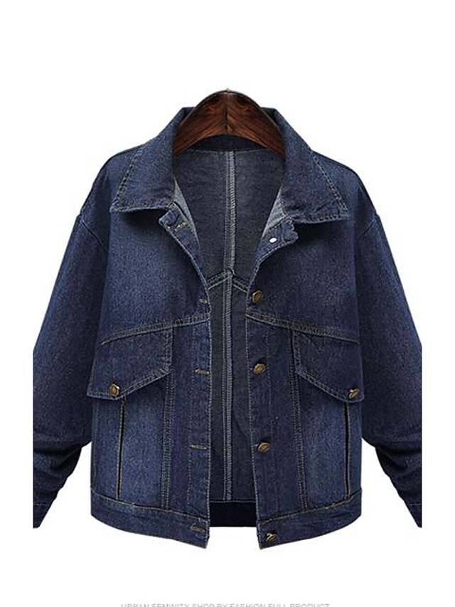 Women's Plus Size Street chic Spring / Fall Denim JacketsSolid Shirt Collar Long Sleeve Blue Cotton Medium