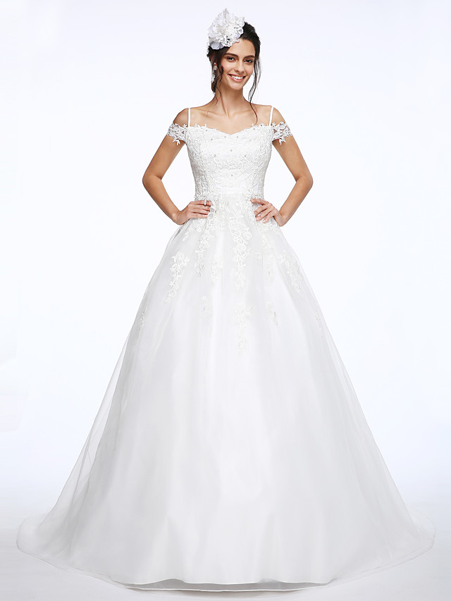 Ball Gown Wedding Dresses Off Shoulder Court Train Organza Beaded Lace Short Sleeve with Beading Appliques 2021