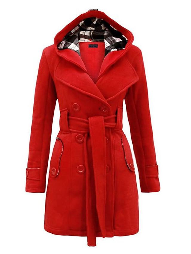 Femme Hiver Trench Longue Couleur Pleine Usage quotidien Chic & Moderne Grandes Tailles Noir Violet Rouge S M L