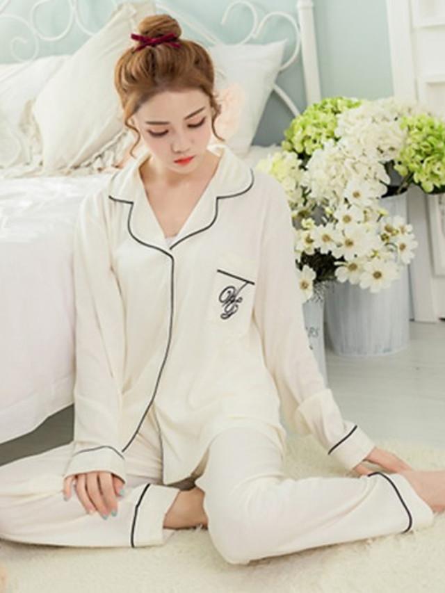 Mulheres Algodão Colarinho de Camisa Cetim & Renda Pijamas Sólido / Sexy