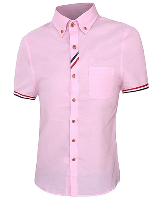 Men's Solid Colored Shirt Business Casual Daily Work Button Down Collar White / Fuchsia / Pink / Blue / Light Blue / Summer / Short Sleeve