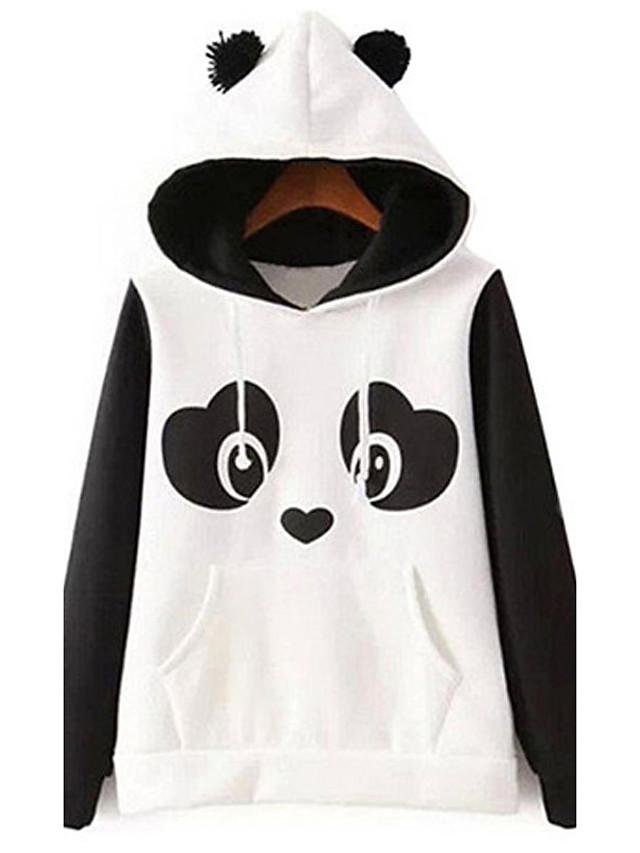 Women's Maternity Pullover Hoodie Sweatshirt Color Block Daily Hoodies Sweatshirts  Cotton White