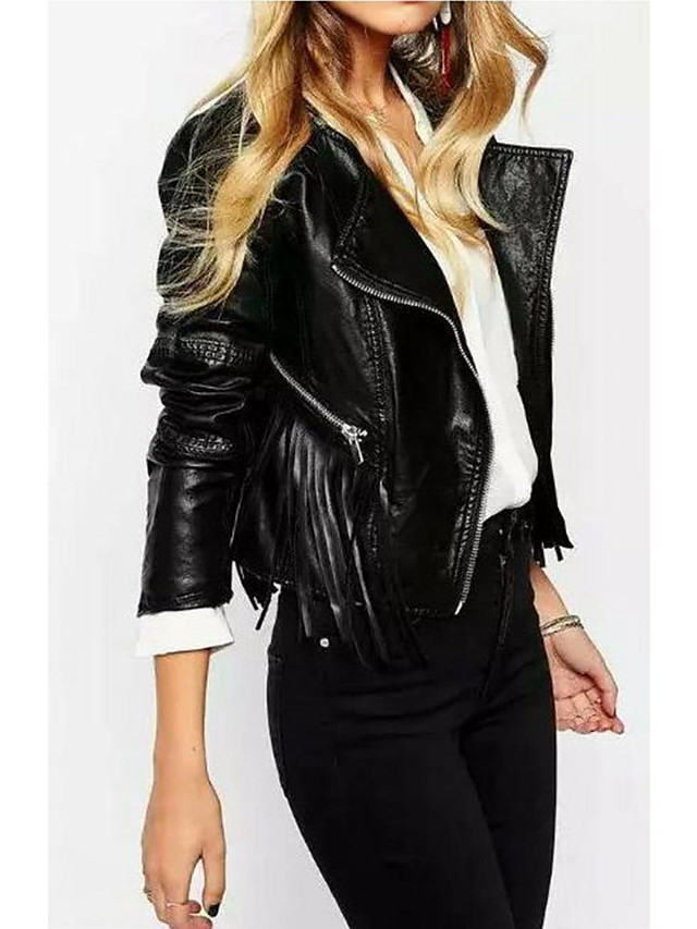 Women's Daily Casual Leather JacketsSolid Round Neck Long Sleeve Fall