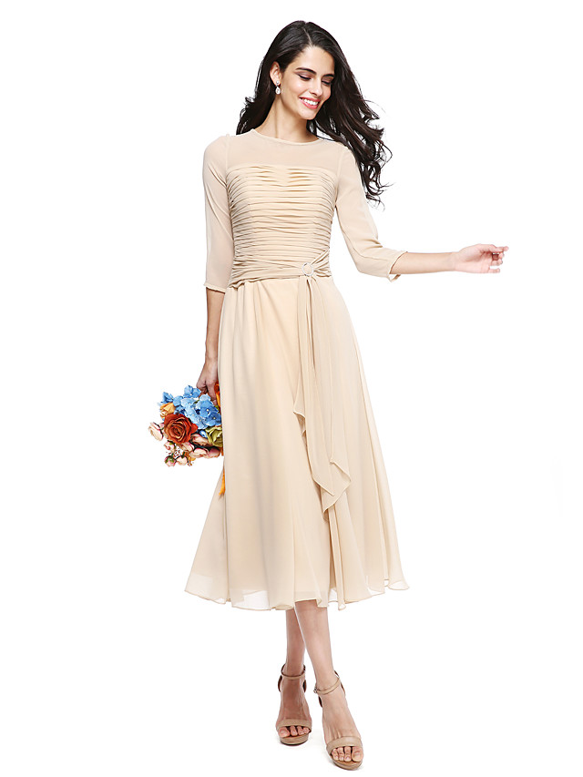 A-Line Jewel Neck Tea Length Georgette Bridesmaid Dress with Ruched / Crystal Brooch