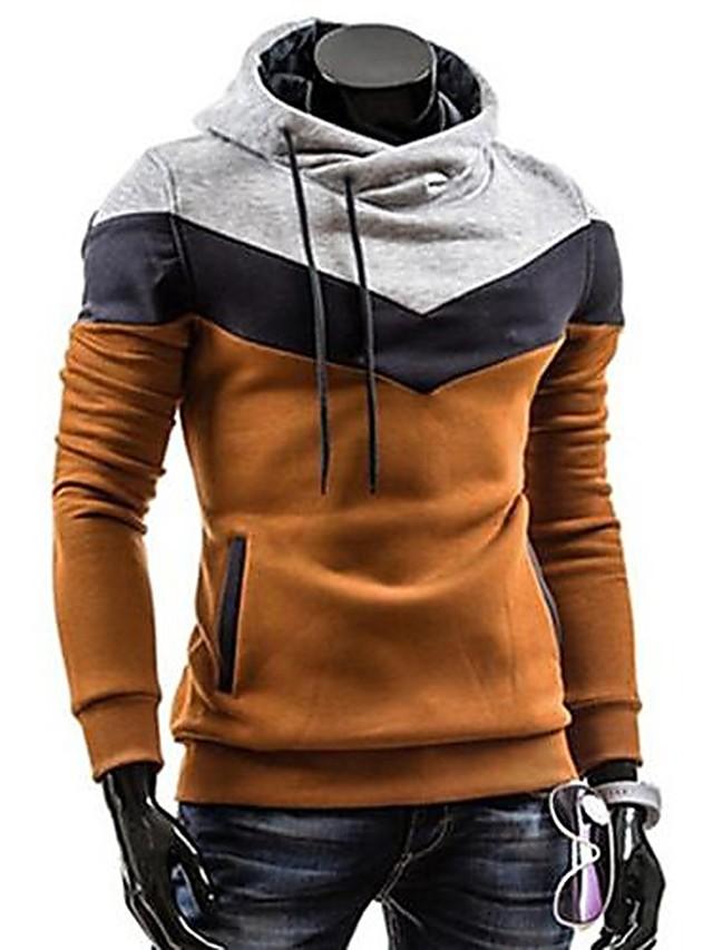Men's Plus Size Hoodie Color Block Turtleneck Daily Sports Weekend Active Hoodies Sweatshirts  Long Sleeve Slim Camel Black Dark Gray / Spring / Fall / Winter