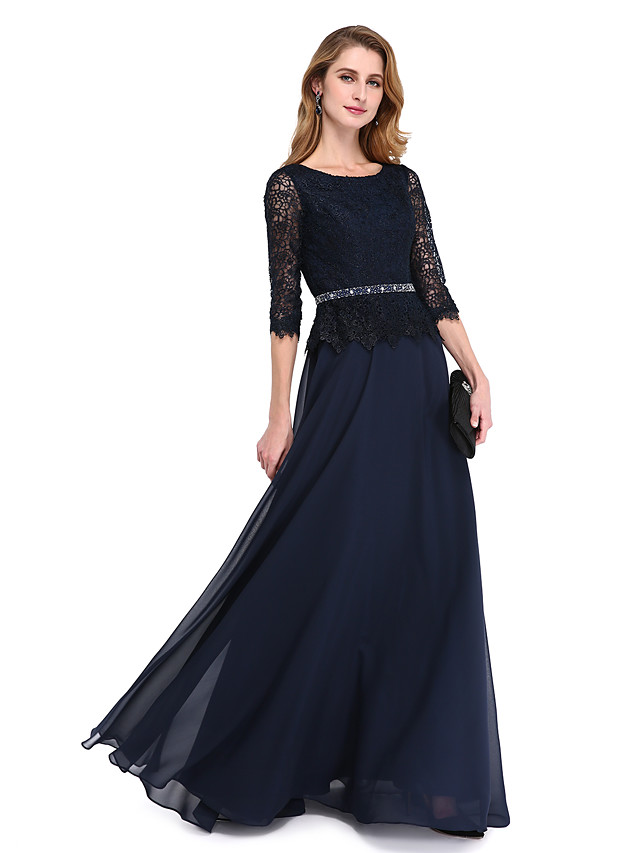 A-Line Mother of the Bride Dress Elegant Jewel Neck Floor Length Chiffon Lace Bodice 3/4 Length Sleeve with Sash / Ribbon Beading 2020 / Illusion Sleeve
