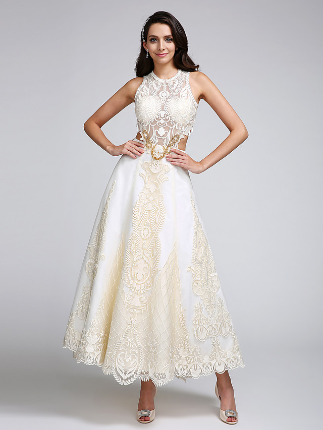 A-Line Wedding Dresses Jewel Neck Ankle Length Lace Over Satin Regular Straps Casual Boho Sexy Sparkle & Shine See-Through Backless with Lace Appliques 2020