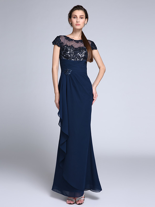 Mermaid / Trumpet Illusion Neck Floor Length Chiffon Formal Evening Dress with Crystals / Appliques 2020