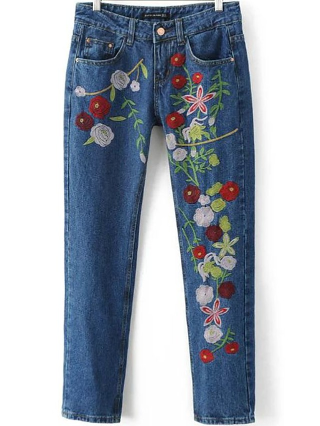 Mujer Tiro Medio Inelástica Vaqueros Pantalones,Delgado Estampado