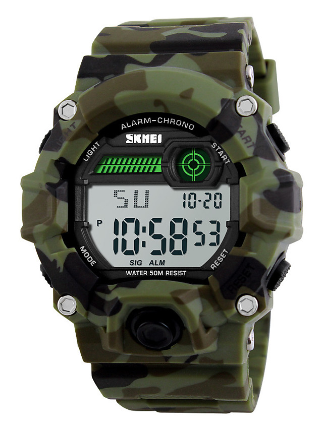 SKMEI Men's Sport Watch Military Watch Wrist Watch Digital Water Resistant / Waterproof Quilted PU Leather Multi-Colored Digital - Camouflage Green Two Years Battery Life / Alarm / Chronograph / LED