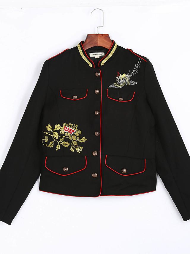 Для женщин На каждый день На выход Весна Осень Куртка Воротник-стойка,Уличный стиль Однотонный Короткая Длинные рукава,Хлопок,Вышивка