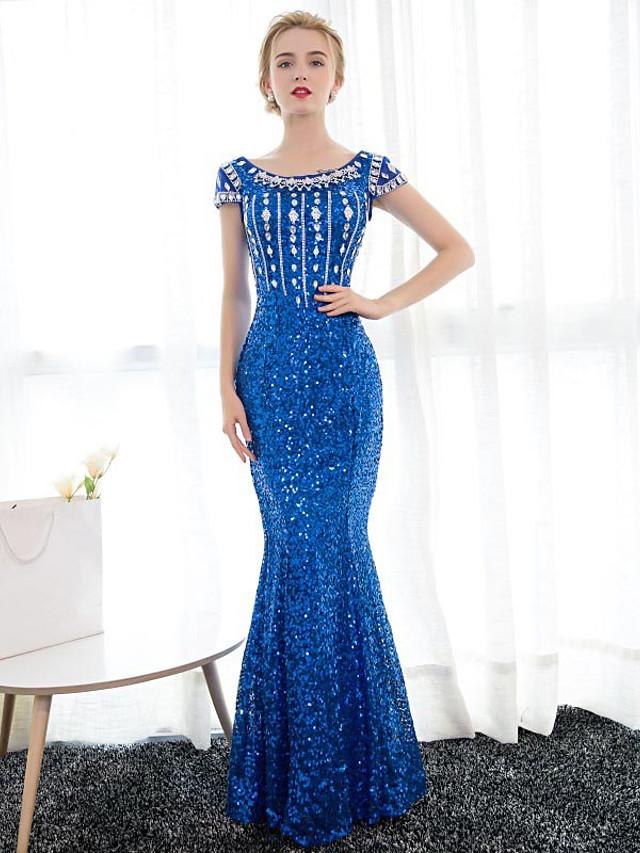 Mermaid / Trumpet Elegant Sparkle & Shine Formal Evening Black Tie Gala Dress Boat Neck Short Sleeve Floor Length Satin Sequined with Crystals Sequin 2020