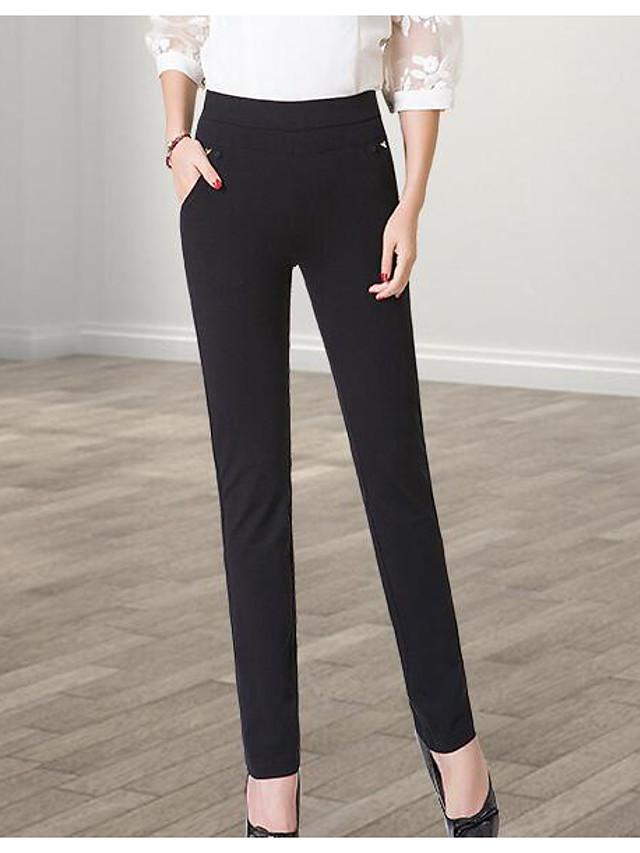 Mujer Tallas Grandes Pitillo Chinos Pantalones Un Color Noche Casual Diario Sencillo Tiro Medio Elasticidad Algodon Spandex 5470350 2020 19 99