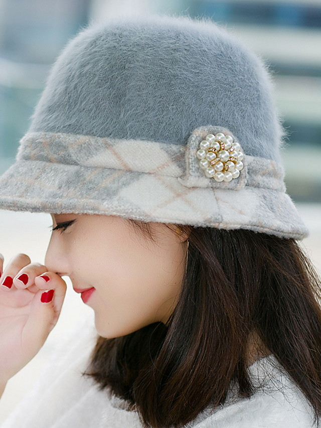 Women S Autumn And Winter Fashion Hats Pearl Rabbit Hair Thicker Basin Cap Winter Plaid Small Hat 5517373 2020 13 64