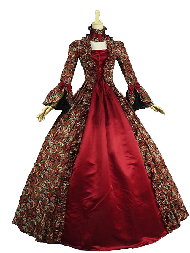 Rococo Victorian Vintage Inspired Medieval Renaissance Dress Women's Lace Cotton Costume Red Vintage Cosplay Party Prom Long Sleeve Floor Length Long Length Plus Size Customized / Floral
